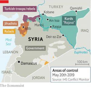 La zona del Rojava nella Siria Nord-Orientale. FONTE: The Economist